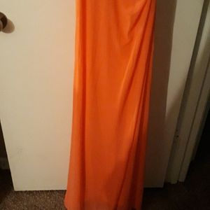 La Femme Dresses - Prom gown papaya color